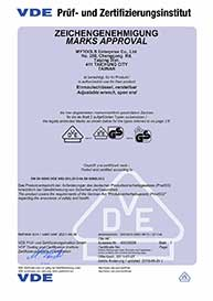 VDE Adjustable Wrench Certificate